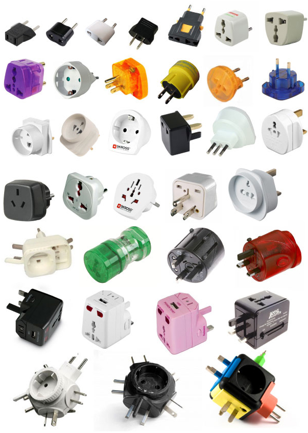 collection of travel adapters